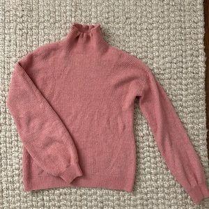 EUC Pink mock neck ruffle sweater by Halogen